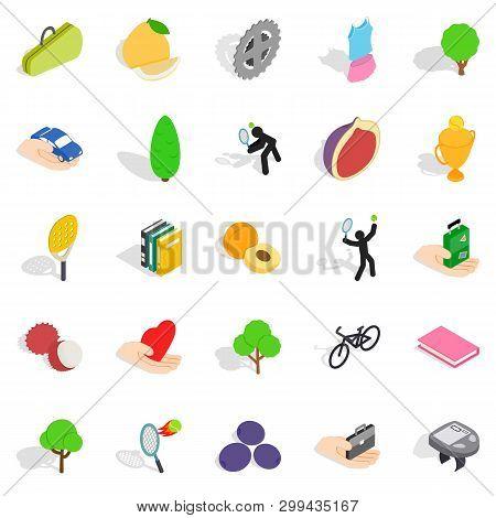 Natural Stamina Icons Set. Isometric Set Of 25 Natural Stamina Icons For Web Isolated On White Backg