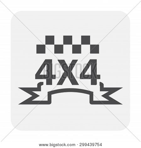 4x4 Offroad Icon Design, Black Colour And Outline.