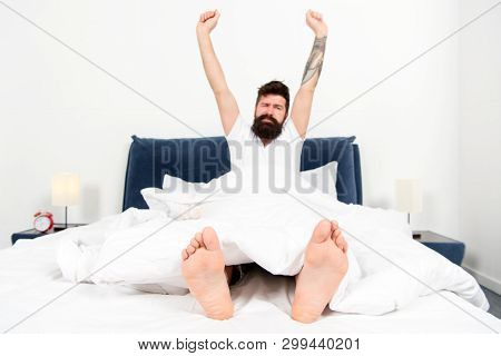 Carefree Day At Home. Brutal Sleepy Man In Bedroom. Asleep And Awake. Good Morning. Male With Beard