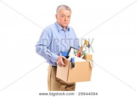 Fired man carrying a box of personal items isolated on white background