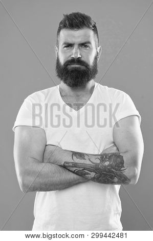 Portrait Of Masculinity. Bearded Man. Hair And Beard Care. Confident And Handsome Brutal Man. Mature