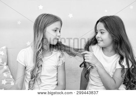 Girls Sisters Spend Pleasant Time Communicate In Bedroom. Benefits Having Sister. Awesome Perks Of H