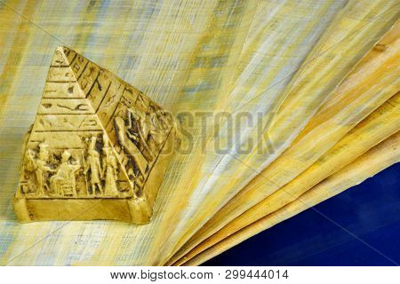 Papyrus Ancient Egyptian Canvas, Writing Material And Pyramid. Papyrus - Canvas For Crafts, Abstract