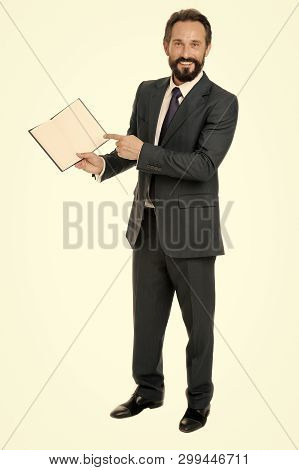 That Is Task For Today. Businessman Planning Business Schedule With Notepad. Time Management And Org