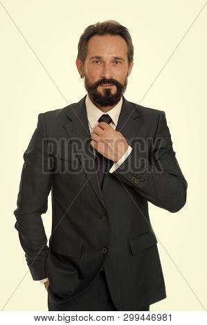 Businessman Concept. Confident Businessman Isolated On White. Bearded Businessman In Formal Wear. Su