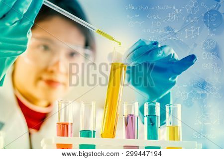 Scientist With Equipment And Science Experiments, Laboratory Glassware Containing Chemical Liquid Fo
