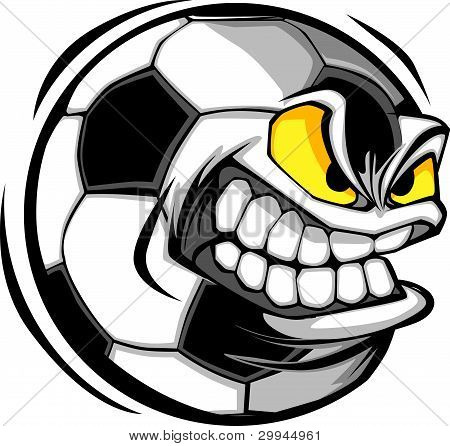 Soccer Ball Face Cartoon Vector Image