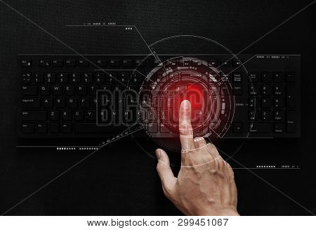 Hand Pushing Red Button On Computer Keyboard, Computer Network And Connection Technology. Computer D