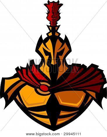 Spartan Greek Warrior With Helmet Vector Mascot