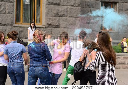 Lutsk, Ukraine - 01.06.2017 Pilgrims Of The World Youth Day During Concert Singing Europe. The Conce
