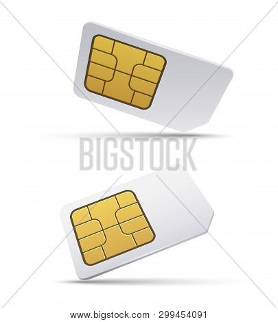 Sim Card. Isolated Isometric Simcard Vector Illustration, Empty 3d Mobile Phone Smart Gsm Microchip,