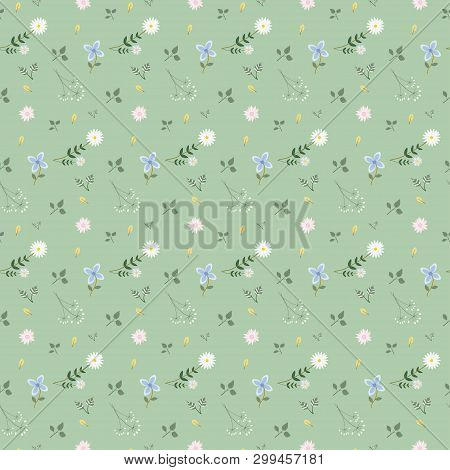 Flower And Leaf  Pattern Background  Isolated On Green  Background ,vector  Illustration,