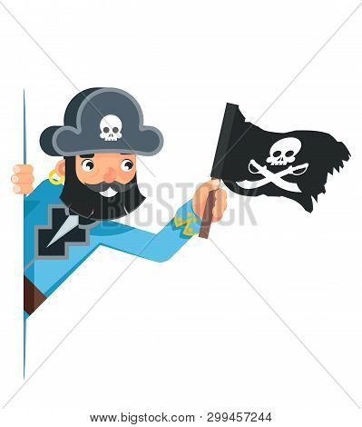 Skull Flag Sea Dog Pirate Buccaneer Filibuster Corsair Look Out Corner Concept Cartoon Character Fla