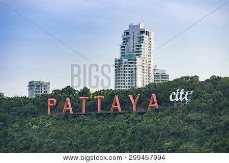 Pattaya City Sign On Hill Near Of Pattaya Beach Aerial View Of Chonburi Thailand