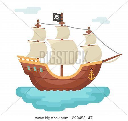 Wooden Boat Pirate Buccaneer Sailing Filibuster Bounty Corsair Journey Sea Dog Ship Game Icon Isolat