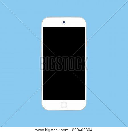 White Smartphone Iphone With Black Screen On Blue Background Vector Eps10.  Smartphone Or Mobile Pho