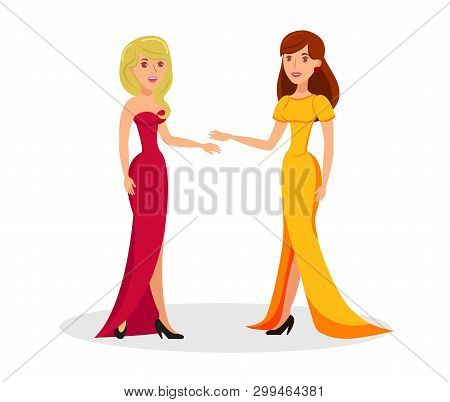 Cute Ladies In Elegant Outfits Cartoon Characters. Pretty Women Wearing Evening Gowns And High Heels