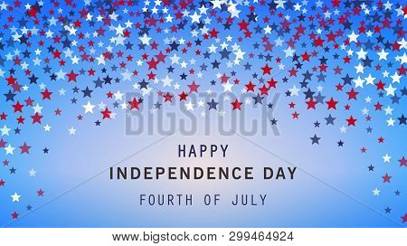 4th Of July Holiday Banner On Stars Background. Usa Independence Day Poster, Flyer, Greeting Card. A