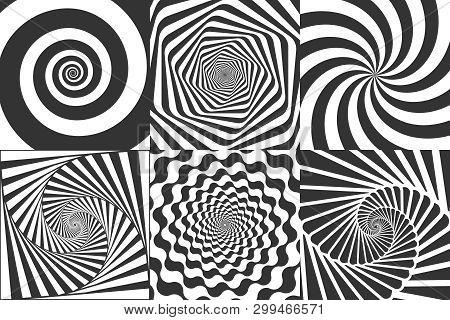 Hypnotic Spiral. Swirl Hypnotize Spirals, Vertigo Geometric Illusion And Rotating Stripes Round Patt