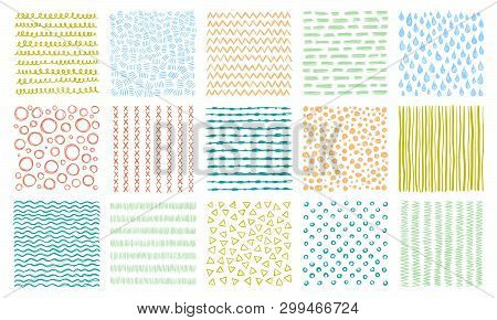 Hand Drawn Textures. Scribble Pattern, Curved Lines Patterns And Lined Texture Vector Background Set