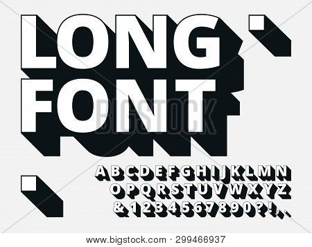 Long Shadow Font. Retro Boldness 3d Alphabet, Old Bold Type And Vintage Cool Typography Hipster Type