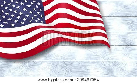 American Flag On White Wooden Background. Usa Star-spangled Banner. Memorial Day. 4th Of July. Indep