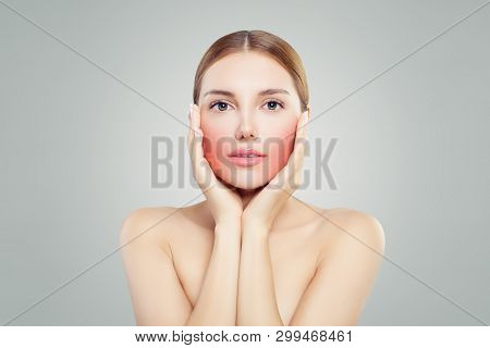 Beautiful Female Face. Unhappy Woman With Toothache