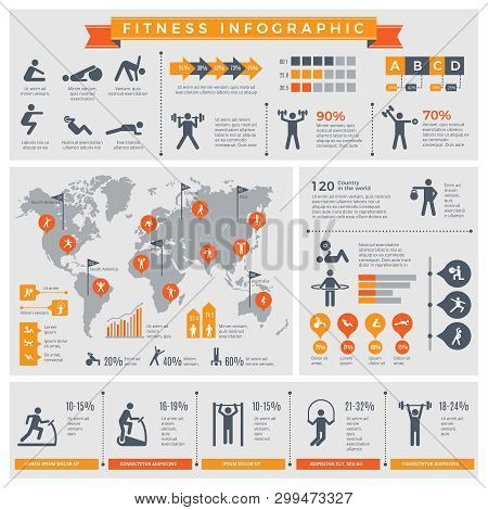 Fitness Infographic. Sport Lifestyle Healthy People Making Exercises In Gym Or Outdoor Vector Infogr