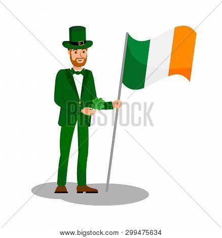 Man Holding Ireland Flag Flat Color Illustration. Guy In Green Suit And Cylinder Hat Cartoon Charact