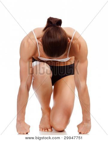Female fitness bodybuilder posing against white background poster