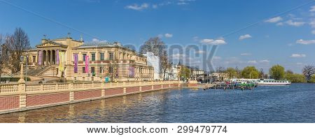 Schwerin, Germany - April 16, 2019: Panorama Of The State Museum At The Lake In Schwerin, Germany