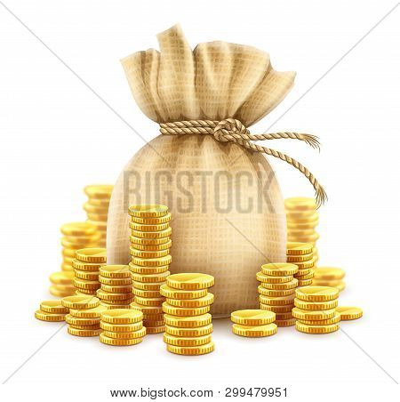Full Sack Of Cash Money Corded With Rope And Heaps Of Gold Coins. Banking Concept Financial Realisti
