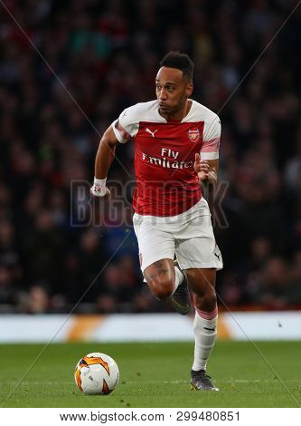 LONDON, ENGLAND - MAY 02 2019: Pierre-Emerick Aubameyang of Arsenal during the Europa League semi final leg one match between Arsenal and Valencia.