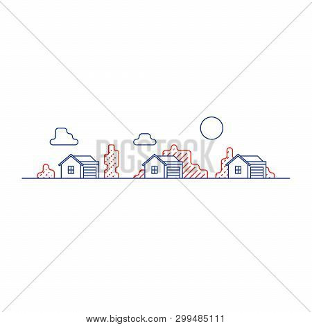 Small Detached Houses With Garage And Trees, Suburb Summer Houses Icon, Real Estate Vector Mono Line