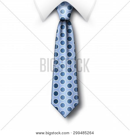 Polka Dots Tie And White Collar With Soft Shadow On A White Background. Template For Fathers Day Gre