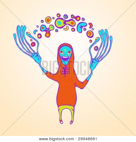 Juggling Doodle Monster. Vector Illustration