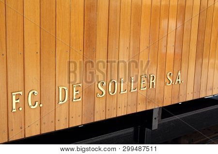 Port De Soller, Mallorca, Spain - June 17, 2018: Vintage Train In Soller, Mallorca, Spain, Close-up.