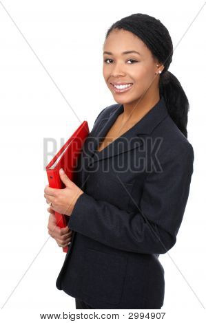 Successful business woman. Isolated over white background poster