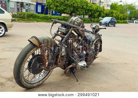 Zhytomyr, Ukraine - April 17, 2019: Handmade Homemade Motorcycle. Zombie Motorcycle Custom