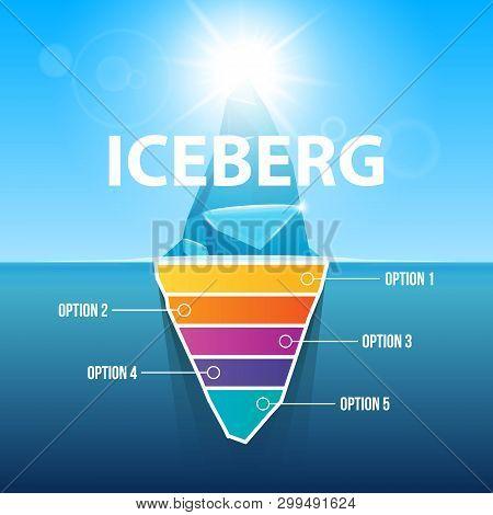 Creative Vector Illustration Of Under Water Antarctic Ocean Iceberg. Art Design Infographic Template