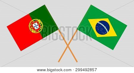 Portugal And Brazil. The Portuguese And Brazilian Flags. Official Colors. Correct Proportion. Vector