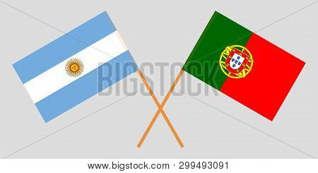Portugal And Argentina. The Portuguese And Argentinean Flags. Official Colors. Correct Proportion. V