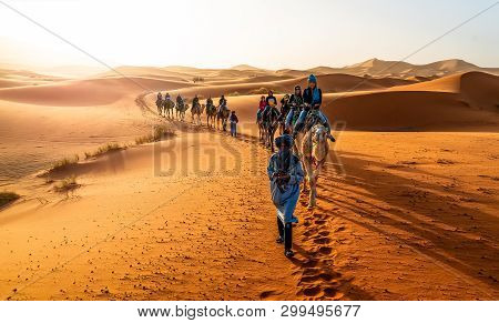 Merzouga, Morocco - May 02, 2019: Caravan Walking In Merzouga Sahara Desert On Morocco