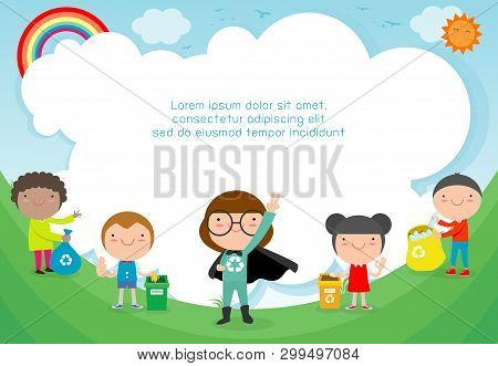 Children Collect Rubbish For Recycling, Kids Segregating Trash, Save The World,template For Advertis