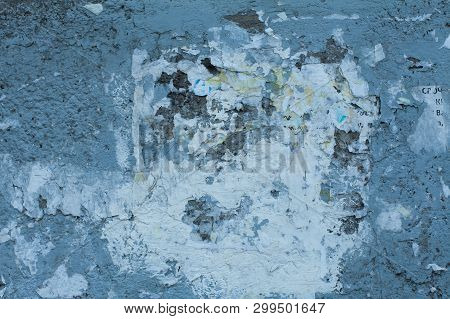 Old Blue Textures Wall Background. Perfect Background With Space.