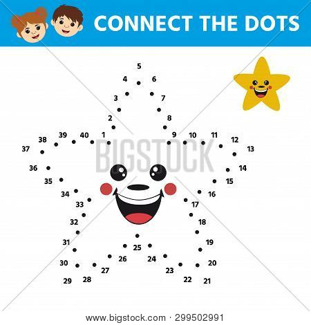 Game For Kids. Dot To Dot Game For Children. Cartoon Cute Star. Activity For Pre Shool Years Kids An