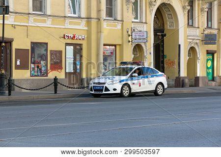 St. Petersburg, Russia - May 01, 2019: Russian Police Patrol Car On The Street Of St. Petersburg, Li