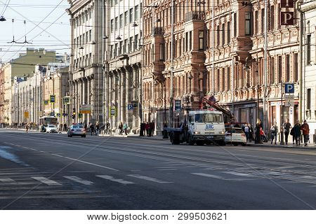 St. Petersburg, Russia - May 01, 2019: Police Evacuate The Parked Car Before The Demonstration. Mass