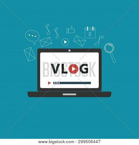 Vlog Concept. Vector Illustration With Big Player. Videoblog.
