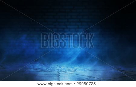 Empty Scene Background. Background Of Blurred Old Brick Wall, Neon Spotlight, Fog